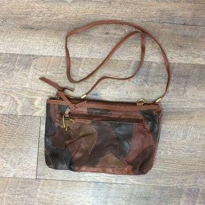 Vintage Brown Patchwork Crossbody Clutch Bag